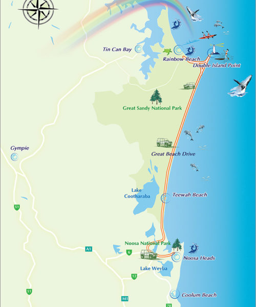 map noosa rainbow beach